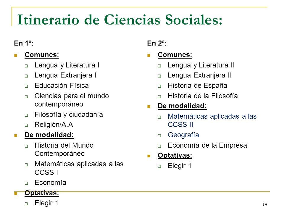 14 Itinerario de Ciencias Sociales: En 1º: Comunes: Lengua y Literatura I Lengua Extranjera I Educación Física Ciencias para el mundo contemporáneo Fi