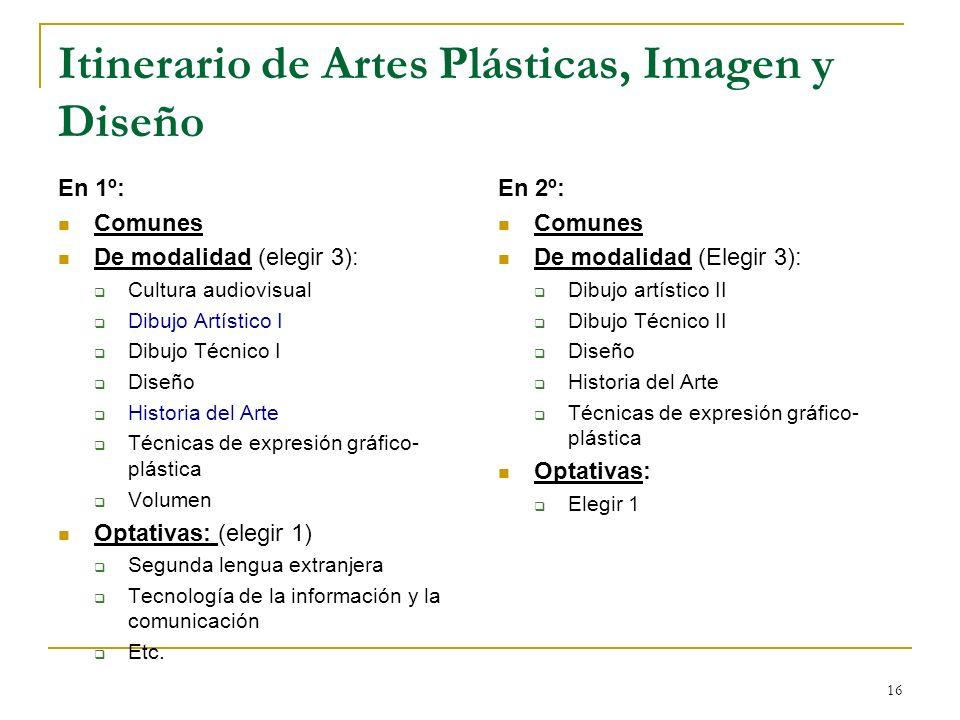 16 Itinerario de Artes Plásticas, Imagen y Diseño En 1º: Comunes De modalidad (elegir 3): Cultura audiovisual Dibujo Artístico I Dibujo Técnico I Dise
