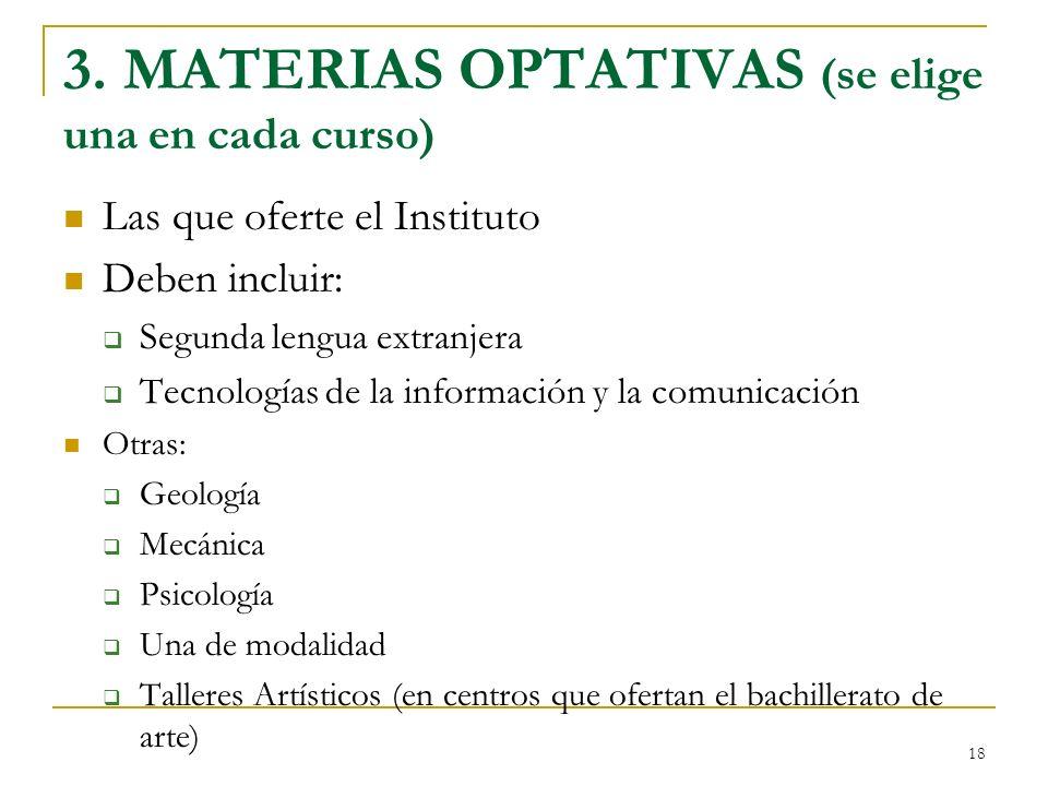 18 3. MATERIAS OPTATIVAS (se elige una en cada curso) Las que oferte el Instituto Deben incluir: Segunda lengua extranjera Tecnologías de la informaci