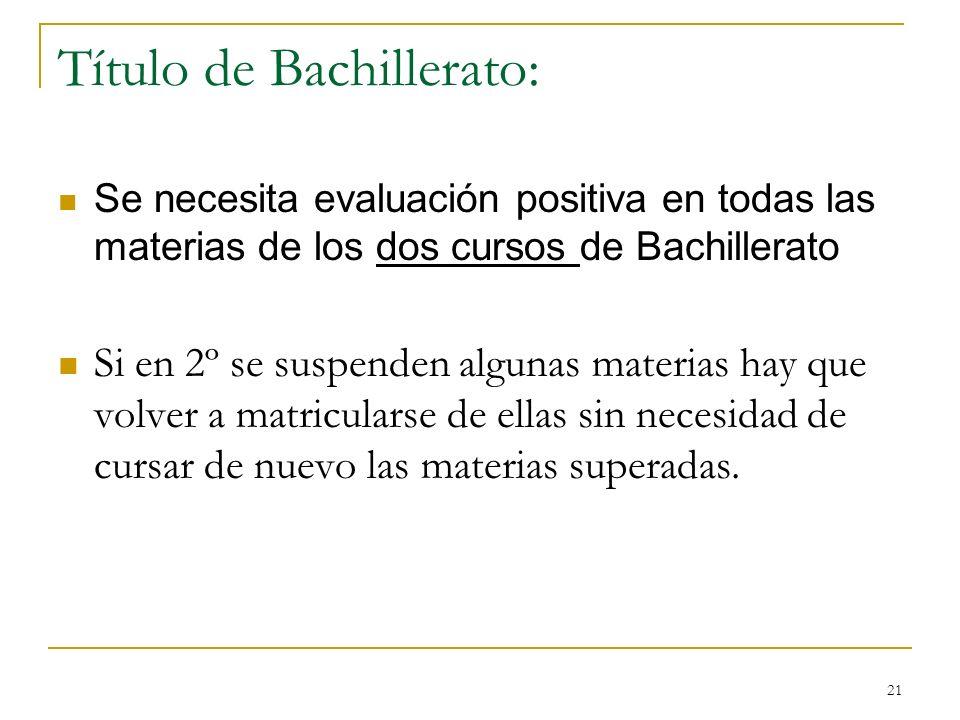 21 Título de Bachillerato: Se necesita evaluación positiva en todas las materias de los dos cursos de Bachillerato Si en 2º se suspenden algunas mater