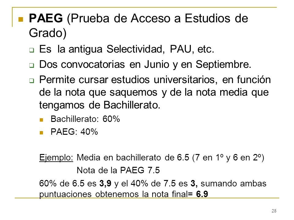 PAEG (Prueba de Acceso a Estudios de Grado) Es la antigua Selectividad, PAU, etc. Dos convocatorias en Junio y en Septiembre. Permite cursar estudios