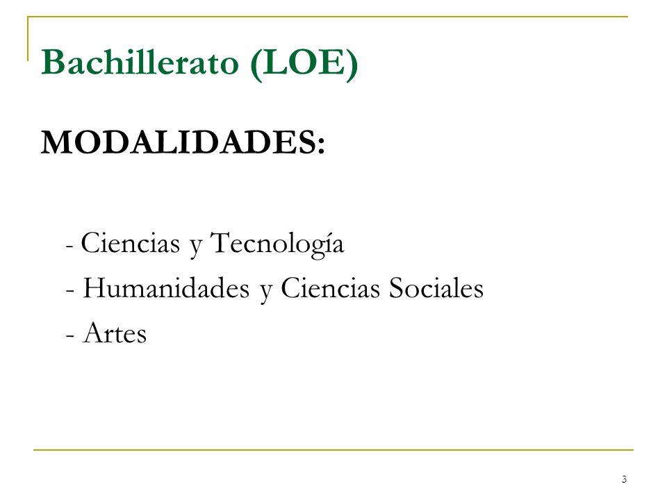 3 Bachillerato (LOE) MODALIDADES: - Ciencias y Tecnología - Humanidades y Ciencias Sociales - Artes