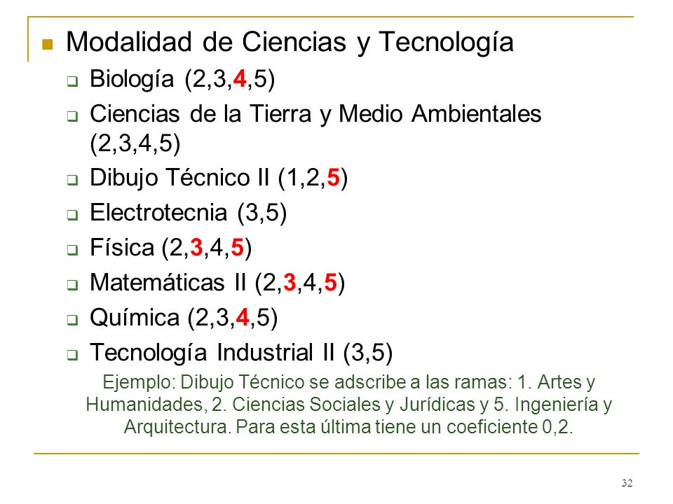 Modalidad de Ciencias y Tecnología Biología (2,3,4,5) Ciencias de la Tierra y Medio Ambientales (2,3,4,5) Dibujo Técnico II (1,2,5) Electrotecnia (3,5