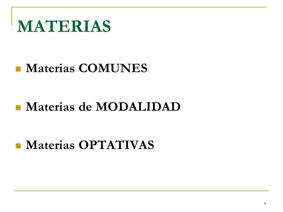 4 MATERIAS Materias COMUNES Materias de MODALIDAD Materias OPTATIVAS