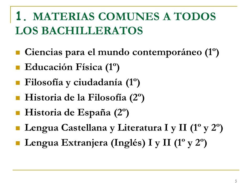 5 1. MATERIAS COMUNES A TODOS LOS BACHILLERATOS Ciencias para el mundo contemporáneo (1º) Educación Física (1º) Filosofía y ciudadanía (1º) Historia d