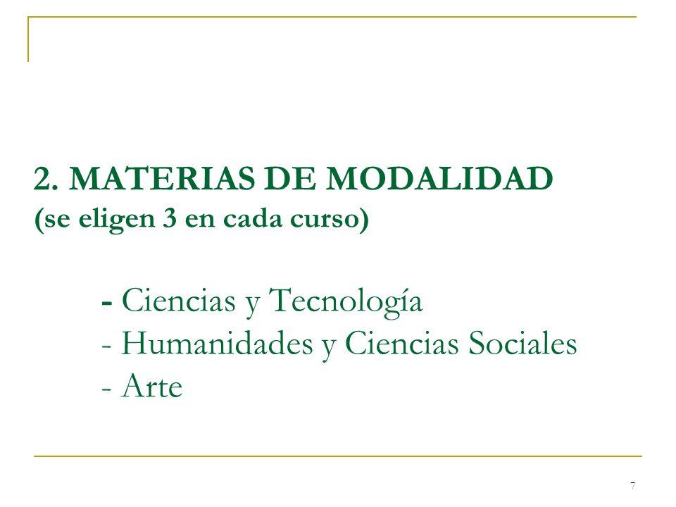 7 2. MATERIAS DE MODALIDAD (se eligen 3 en cada curso) - Ciencias y Tecnología - Humanidades y Ciencias Sociales - Arte
