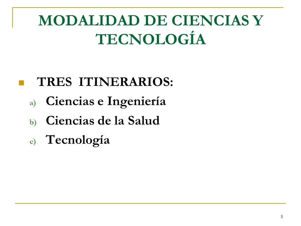 8 MODALIDAD DE CIENCIAS Y TECNOLOGÍA TRES ITINERARIOS: a) Ciencias e Ingeniería b) Ciencias de la Salud c) Tecnología