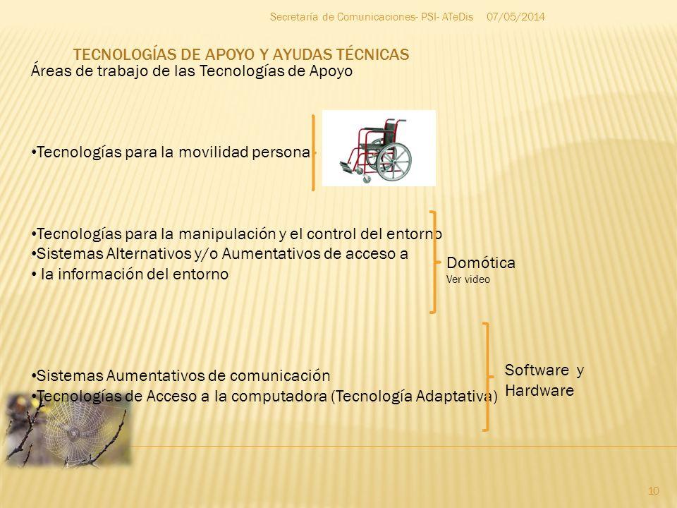 07/05/2014 10 Secretaría de Comunicaciones- PSI- ATeDis Áreas de trabajo de las Tecnologías de Apoyo Tecnologías para la movilidad personal Tecnología