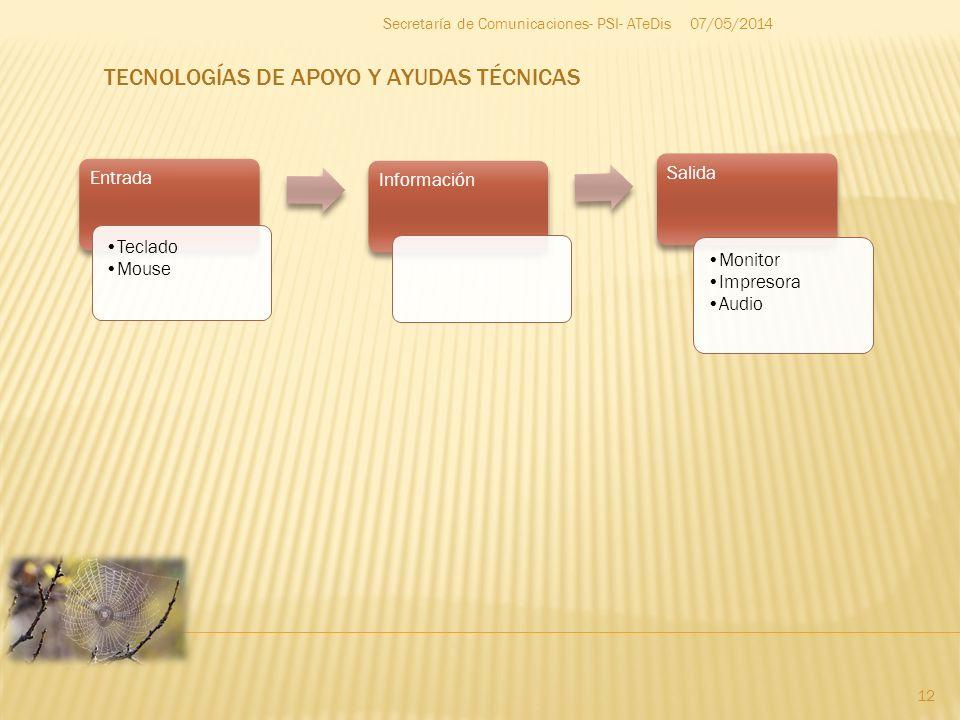 07/05/2014 12 Secretaría de Comunicaciones- PSI- ATeDis Entrada Teclado Mouse Información Salida Monitor Impresora Audio TECNOLOGÍAS DE APOYO Y AYUDAS