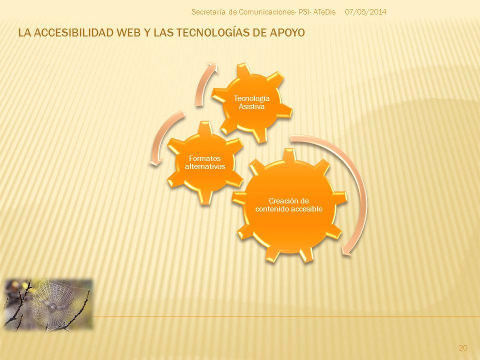 LA ACCESIBILIDAD WEB Y LAS TECNOLOGÍAS DE APOYO 07/05/2014 20 Secretaría de Comunicaciones- PSI- ATeDis Creación de contenido accesible Formatos alter