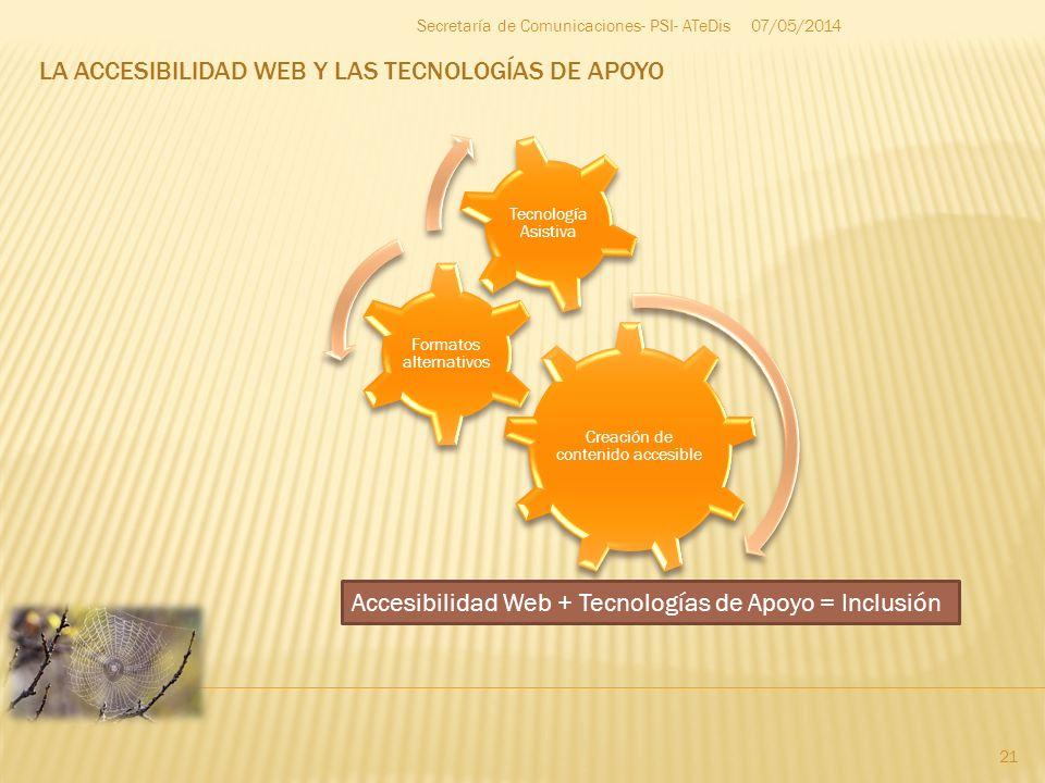 LA ACCESIBILIDAD WEB Y LAS TECNOLOGÍAS DE APOYO 07/05/2014 21 Secretaría de Comunicaciones- PSI- ATeDis Creación de contenido accesible Formatos alter