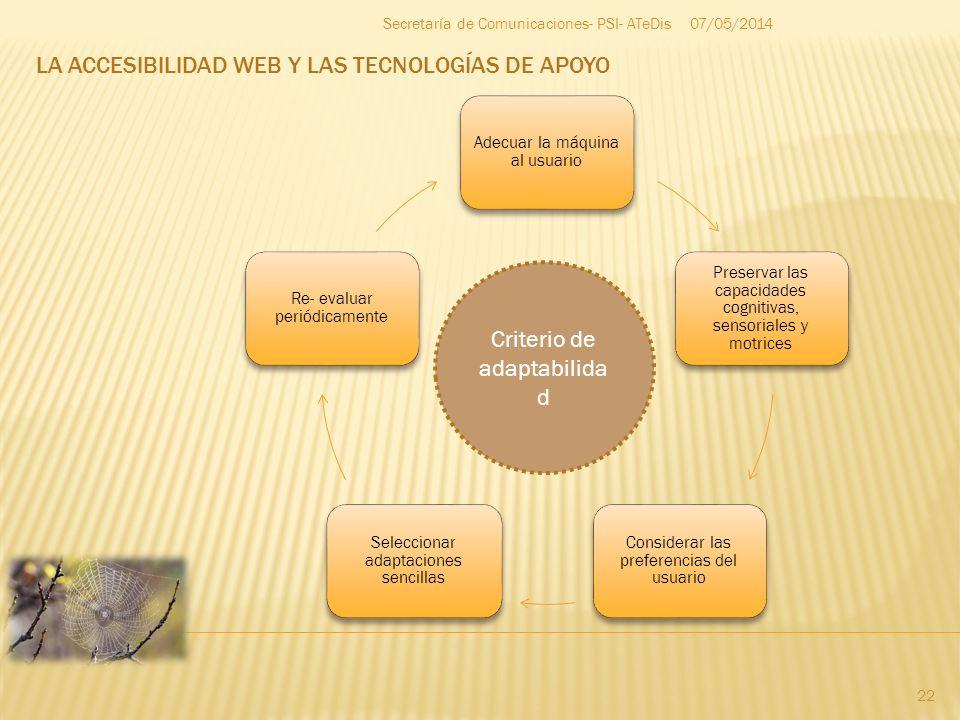 LA ACCESIBILIDAD WEB Y LAS TECNOLOGÍAS DE APOYO 07/05/2014 22 Secretaría de Comunicaciones- PSI- ATeDis Adecuar la máquina al usuario Preservar las ca