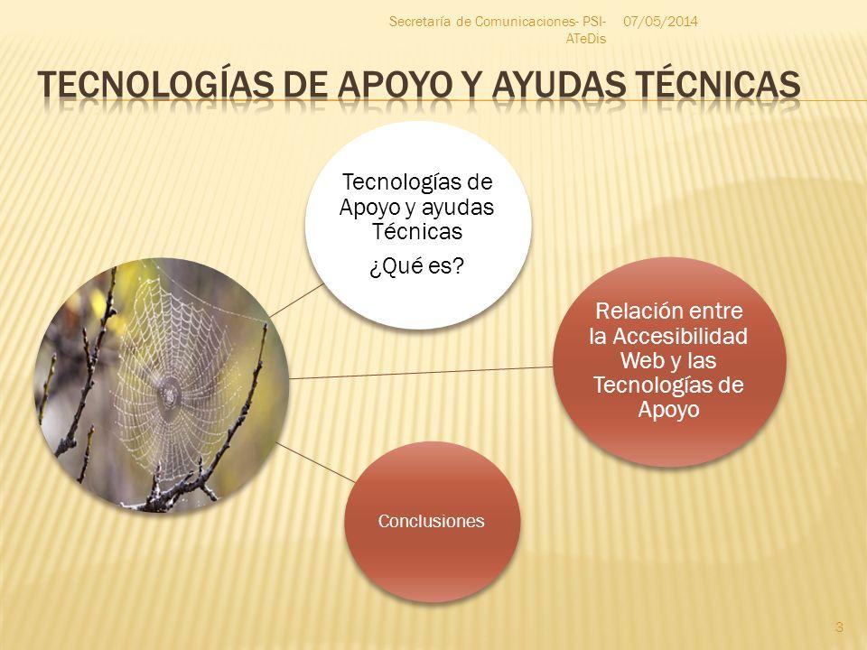 Tecnologías de Apoyo y ayudas Técnicas ¿Qué es? Conclusiones Relación entre la Accesibilidad Web y las Tecnologías de Apoyo 07/05/2014 3 Secretaría de