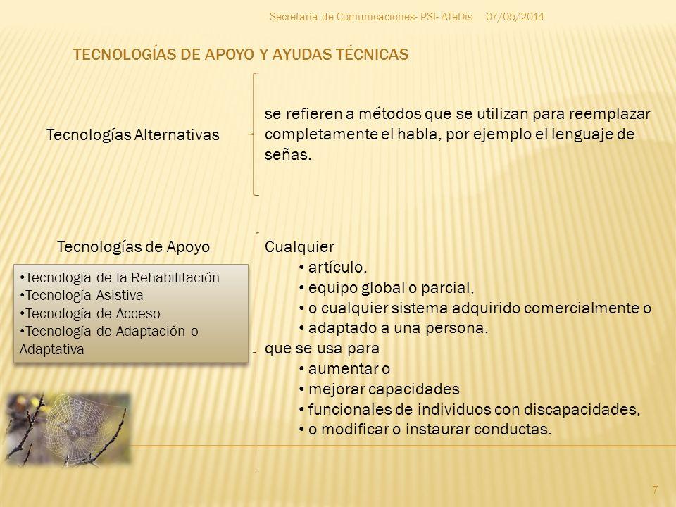07/05/2014 7 Secretaría de Comunicaciones- PSI- ATeDis Tecnologías Alternativas Tecnologías de Apoyo se refieren a métodos que se utilizan para reempl