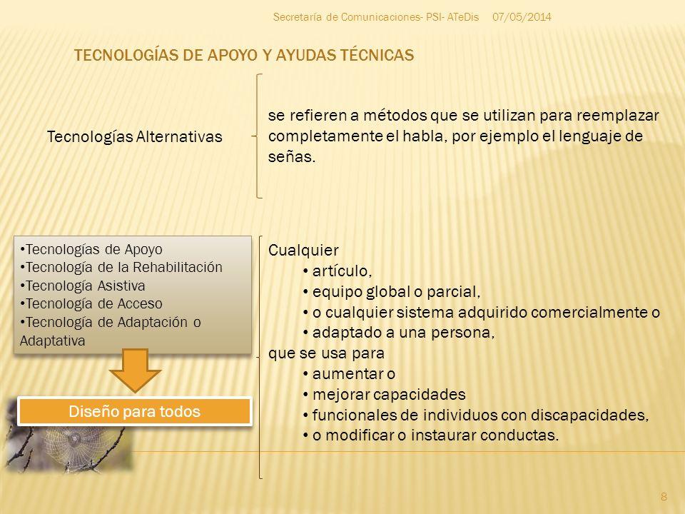 07/05/2014 8 Secretaría de Comunicaciones- PSI- ATeDis Tecnologías Alternativas se refieren a métodos que se utilizan para reemplazar completamente el