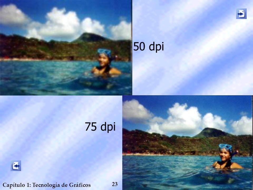23 Capítulo 1: Tecnología de Gráficos 75 dpi 50 dpi