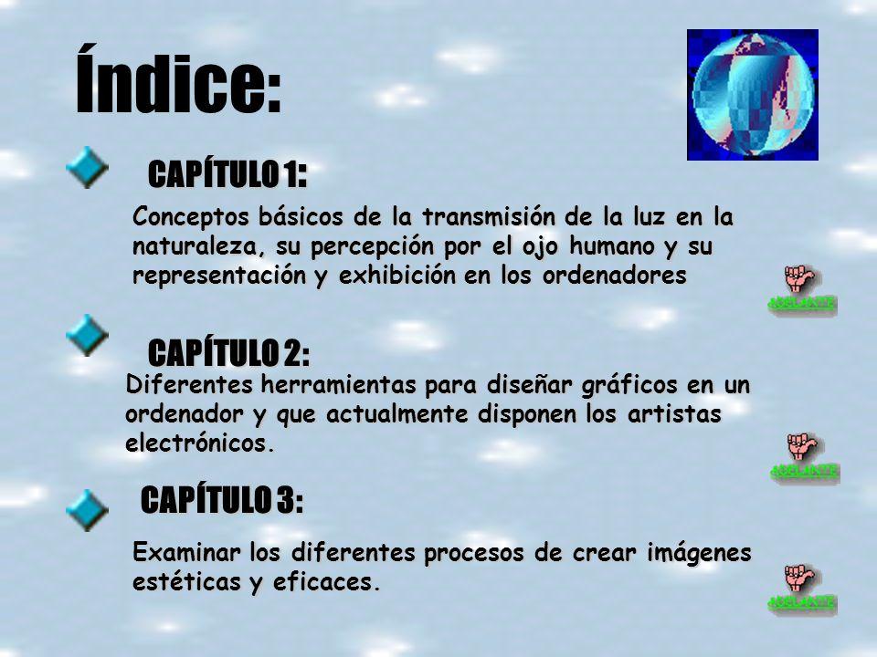Índice: CAPÍTULO 1 : Conceptos básicos de la transmisión de la luz en la naturaleza, su percepción por el ojo humano y su representación y exhibición