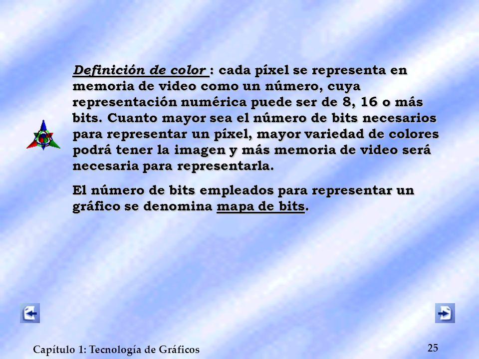 25 Capítulo 1: Tecnología de Gráficos Definición de color : cada píxel se representa en memoria de video como un número, cuya representación numérica