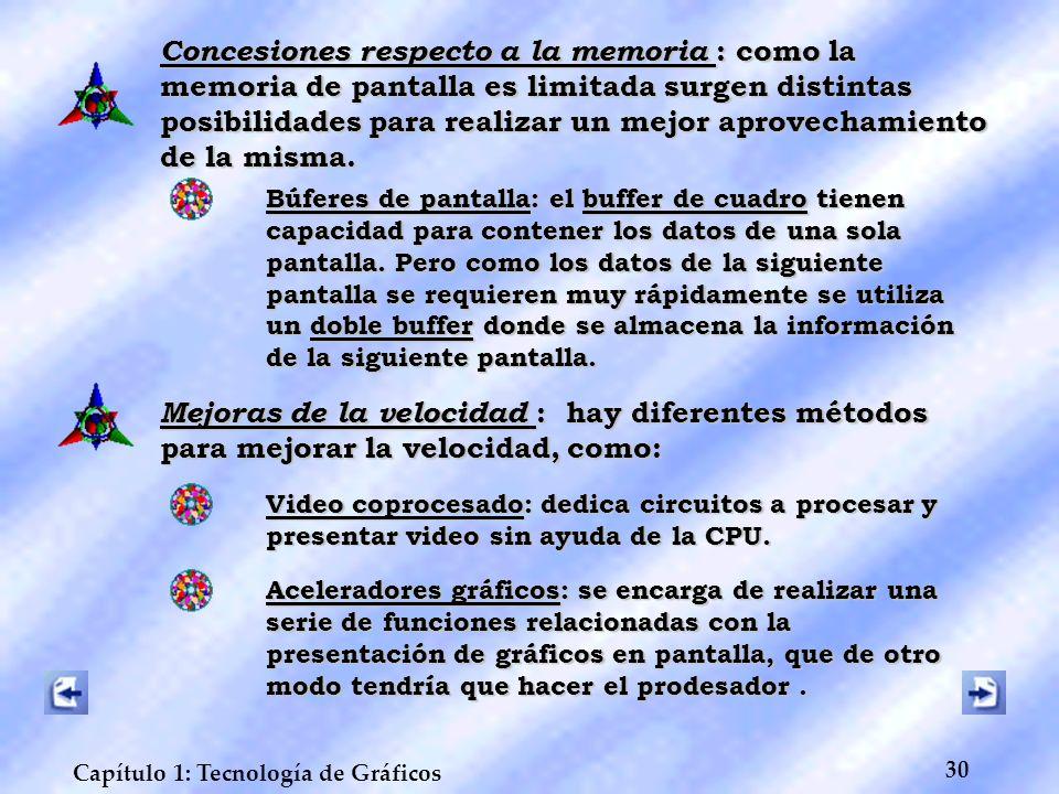 30 Capítulo 1: Tecnología de Gráficos Concesiones respecto a la memoria : como la memoria de pantalla es limitada surgen distintas posibilidades para