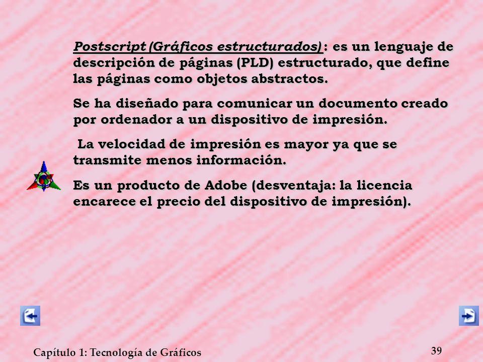 39 Capítulo 1: Tecnología de Gráficos Postscript (Gráficos estructurados) : es un lenguaje de descripción de páginas (PLD) estructurado, que define la