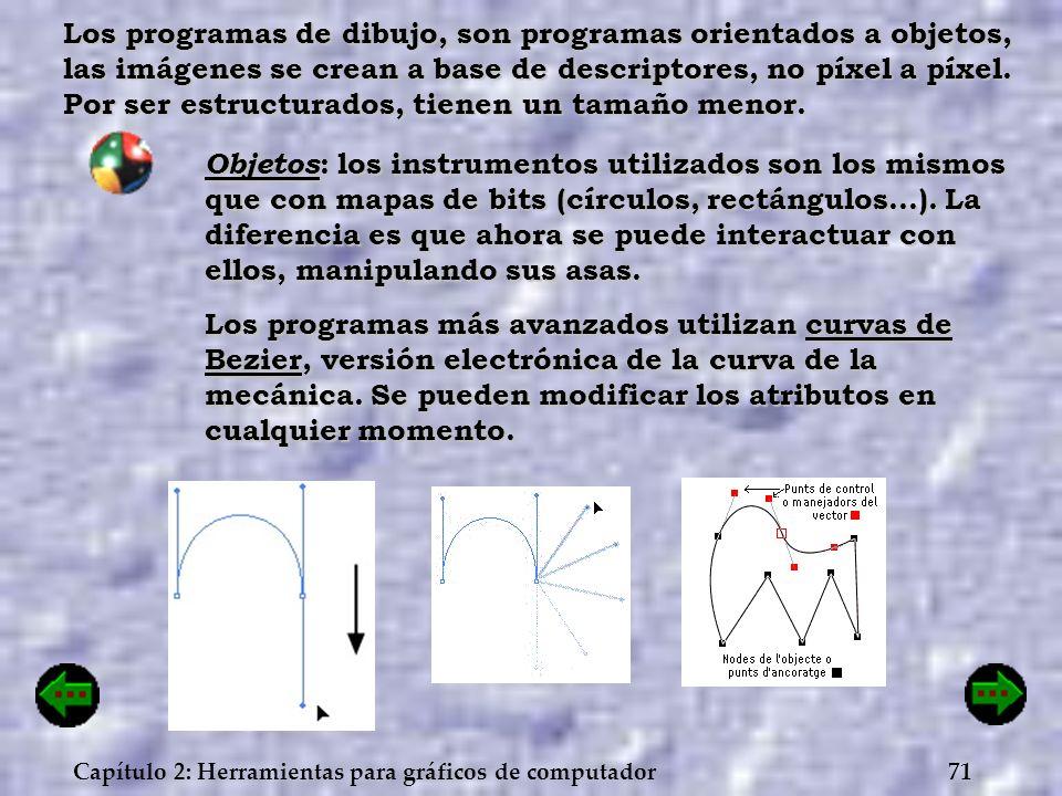 71Capítulo 2: Herramientas para gráficos de computador Los programas de dibujo, son programas orientados a objetos, las imágenes se crean a base de de