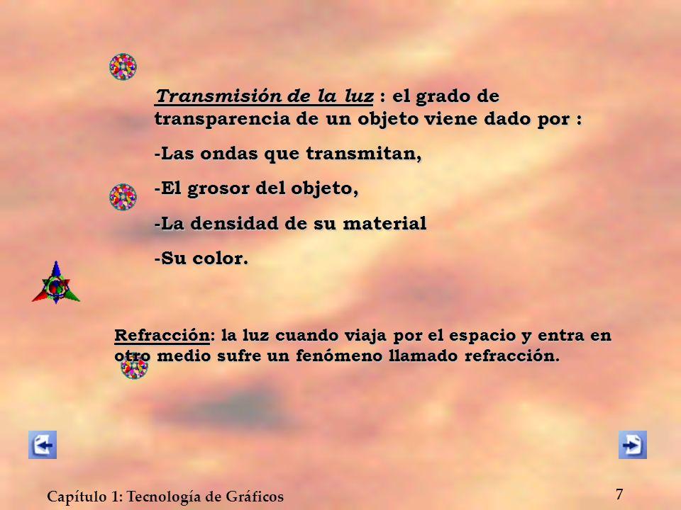 Capítulo 1: Tecnología de Gráficos 7 Transmisión de la luz : el grado de transparencia de un objeto viene dado por : -Las ondas que transmitan, -El gr