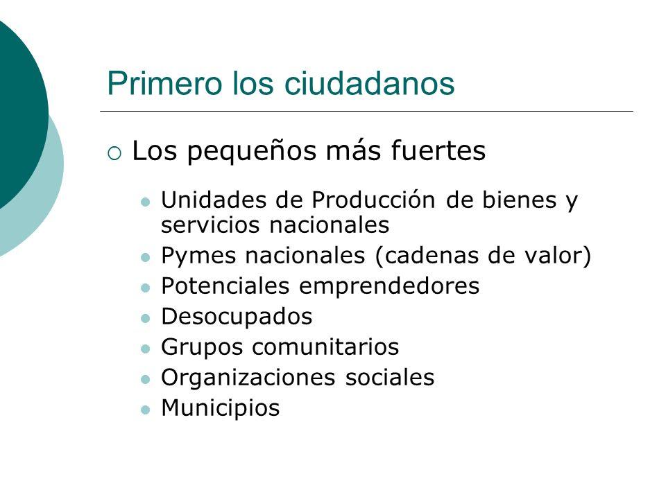 Primero los ciudadanos Los pequeños más fuertes Unidades de Producción de bienes y servicios nacionales Pymes nacionales (cadenas de valor) Potenciale