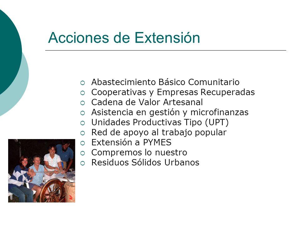 Acciones de Extensión Abastecimiento Básico Comunitario Cooperativas y Empresas Recuperadas Cadena de Valor Artesanal Asistencia en gestión y microfin