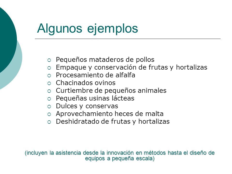 Algunos ejemplos Pequeños mataderos de pollos Empaque y conservación de frutas y hortalizas Procesamiento de alfalfa Chacinados ovinos Curtiembre de p