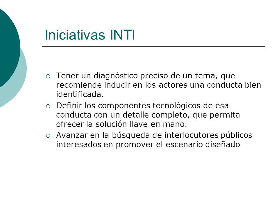 Iniciativas INTI Tener un diagnóstico preciso de un tema, que recomiende inducir en los actores una conducta bien identificada. Definir los componente