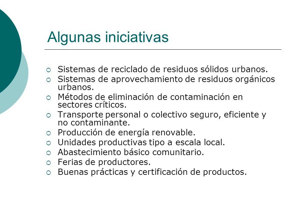 Algunas iniciativas Sistemas de reciclado de residuos sólidos urbanos.