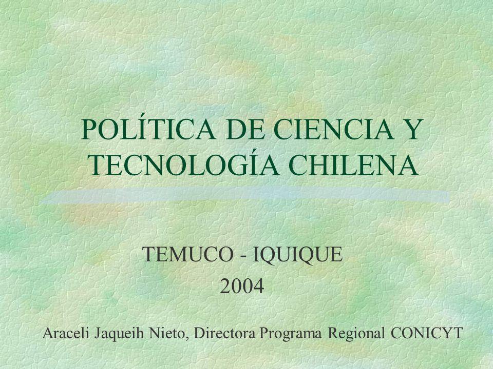 POLÍTICA DE CIENCIA Y TECNOLOGÍA CHILENA TEMUCO - IQUIQUE 2004 Araceli Jaqueih Nieto, Directora Programa Regional CONICYT