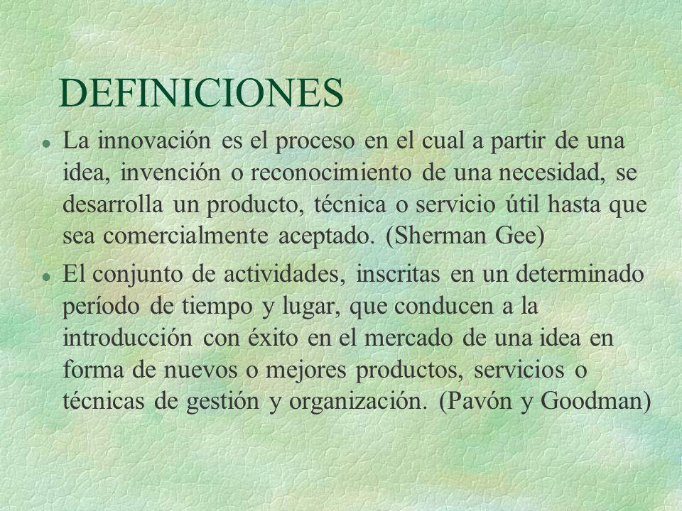 DEFINICIONES l La innovación es el proceso en el cual a partir de una idea, invención o reconocimiento de una necesidad, se desarrolla un producto, té