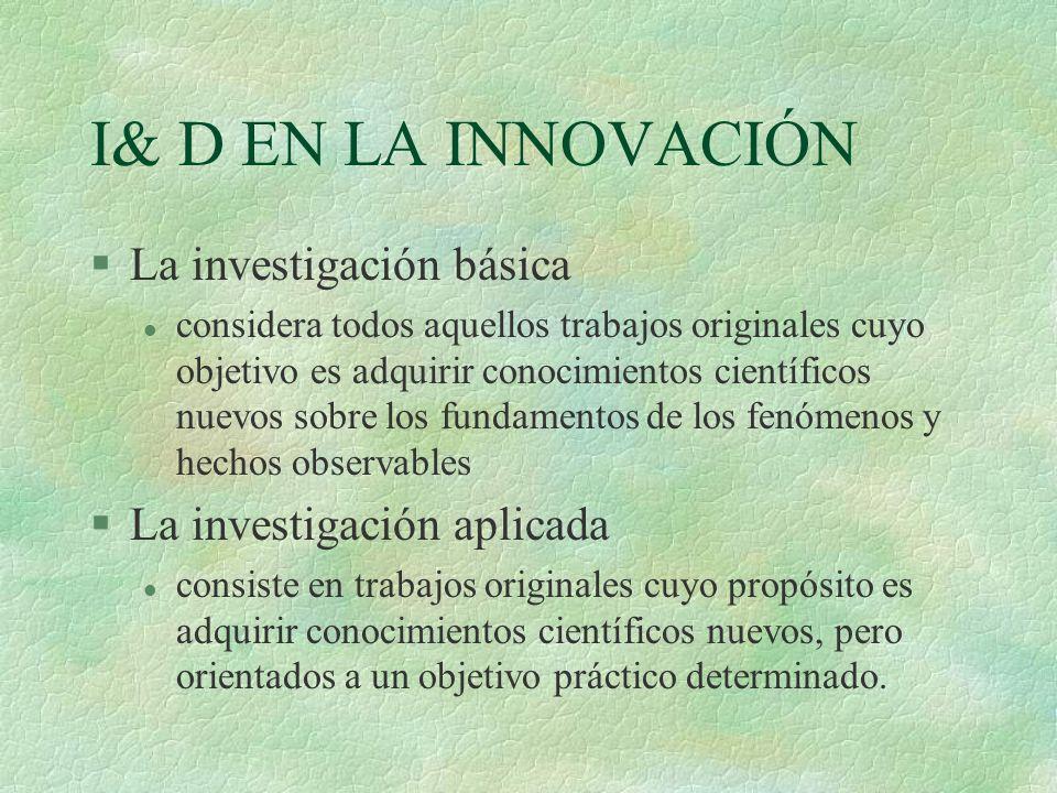 I& D EN LA INNOVACIÓN §La investigación básica l considera todos aquellos trabajos originales cuyo objetivo es adquirir conocimientos científicos nuev