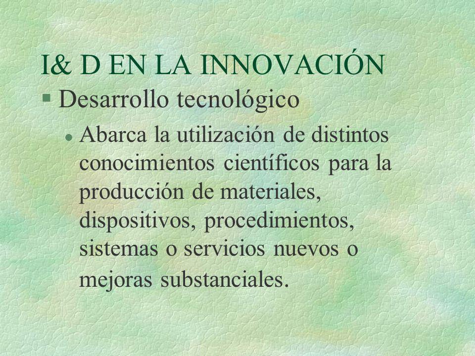 I& D EN LA INNOVACIÓN §Desarrollo tecnológico l Abarca la utilización de distintos conocimientos científicos para la producción de materiales, disposi