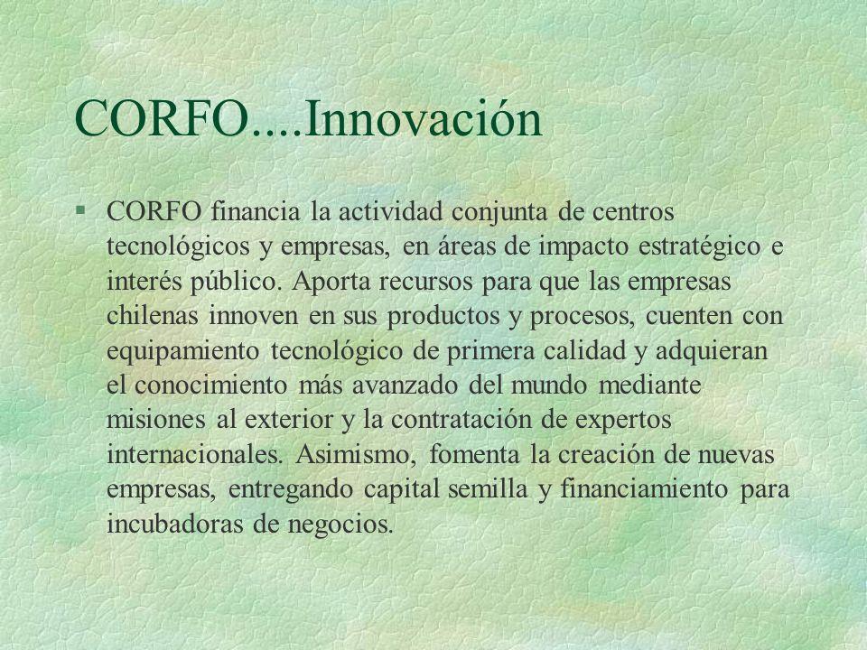 CORFO....Innovación §CORFO financia la actividad conjunta de centros tecnológicos y empresas, en áreas de impacto estratégico e interés público. Aport