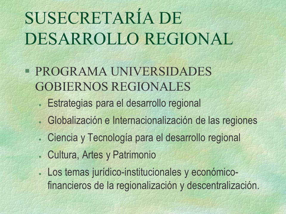 SUSECRETARÍA DE DESARROLLO REGIONAL PROGRAMA UNIVERSIDADES GOBIERNOS REGIONALES Estrategias para el desarrollo regional Globalización e Internacionali