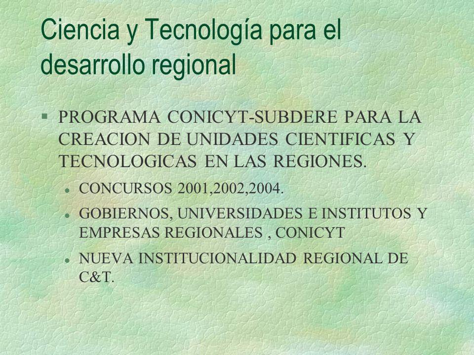 Ciencia y Tecnología para el desarrollo regional §PROGRAMA CONICYT-SUBDERE PARA LA CREACION DE UNIDADES CIENTIFICAS Y TECNOLOGICAS EN LAS REGIONES. l