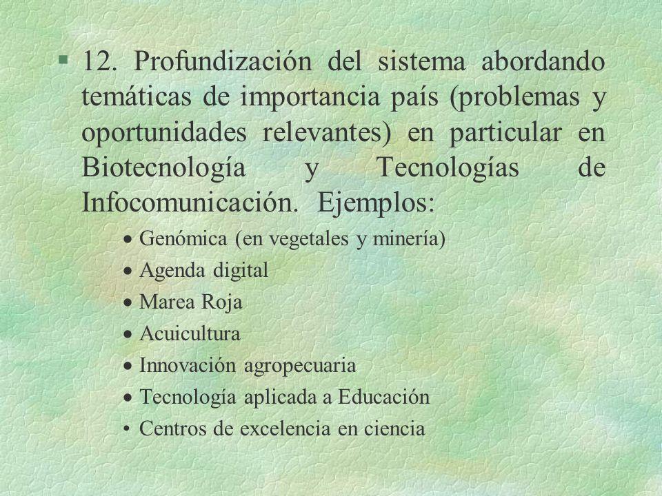 §12. Profundización del sistema abordando temáticas de importancia país (problemas y oportunidades relevantes) en particular en Biotecnología y Tecnol