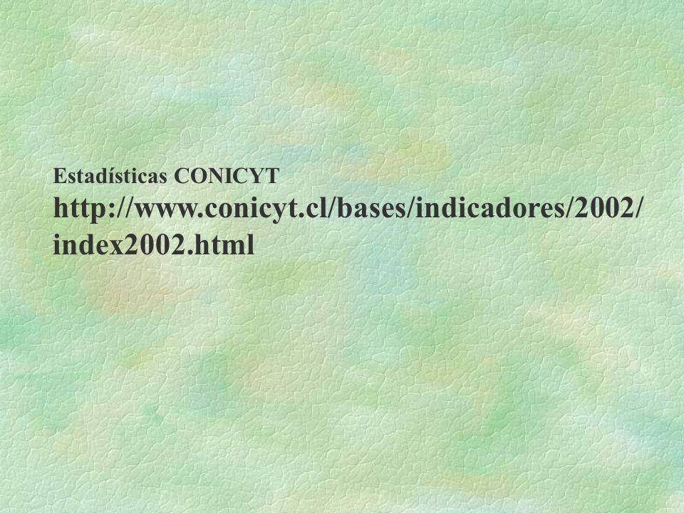 Estadísticas CONICYT http://www.conicyt.cl/bases/indicadores/2002/ index2002.html