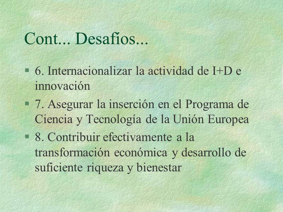 Cont... Desafíos... §6. Internacionalizar la actividad de I+D e innovación §7. Asegurar la inserción en el Programa de Ciencia y Tecnología de la Unió