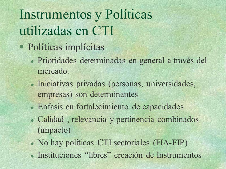 Instrumentos y Políticas utilizadas en CTI §Políticas implícitas l Prioridades determinadas en general a través del mercado. l Iniciativas privadas (p