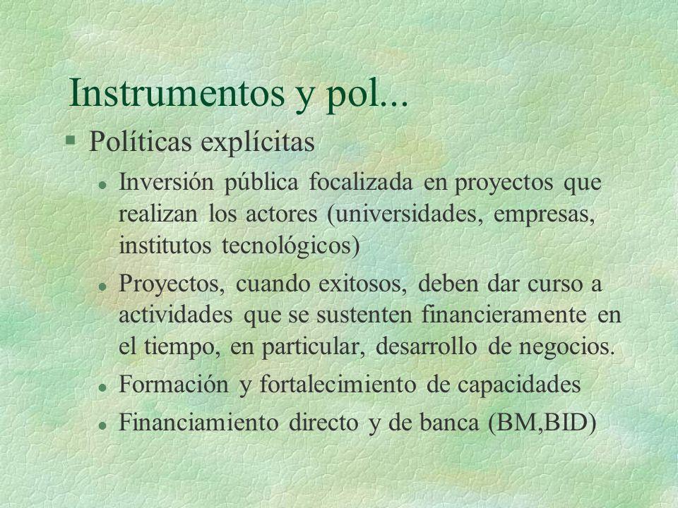 Instrumentos y pol... §Políticas explícitas l Inversión pública focalizada en proyectos que realizan los actores (universidades, empresas, institutos