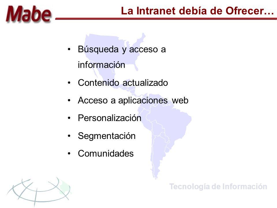 Tecnología de Información La Intranet debía de Ofrecer… Búsqueda y acceso a información Contenido actualizado Acceso a aplicaciones web Personalización Segmentación Comunidades