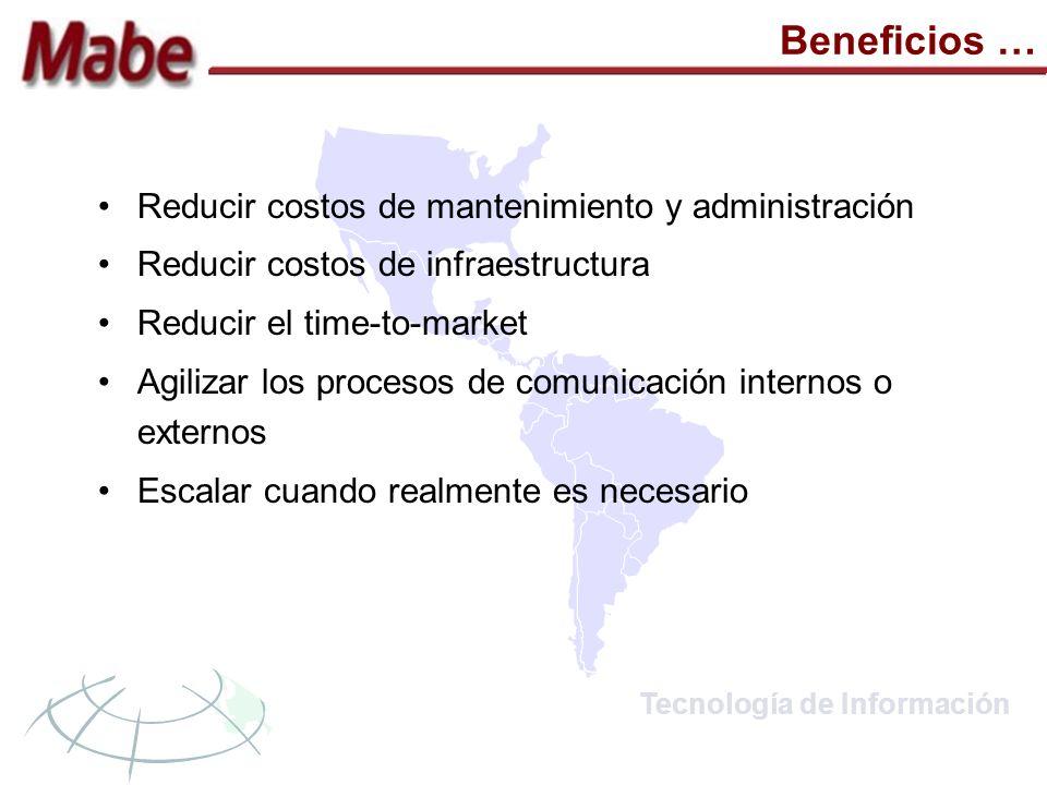Tecnología de Información Beneficios … Reducir costos de mantenimiento y administración Reducir costos de infraestructura Reducir el time-to-market Agilizar los procesos de comunicación internos o externos Escalar cuando realmente es necesario