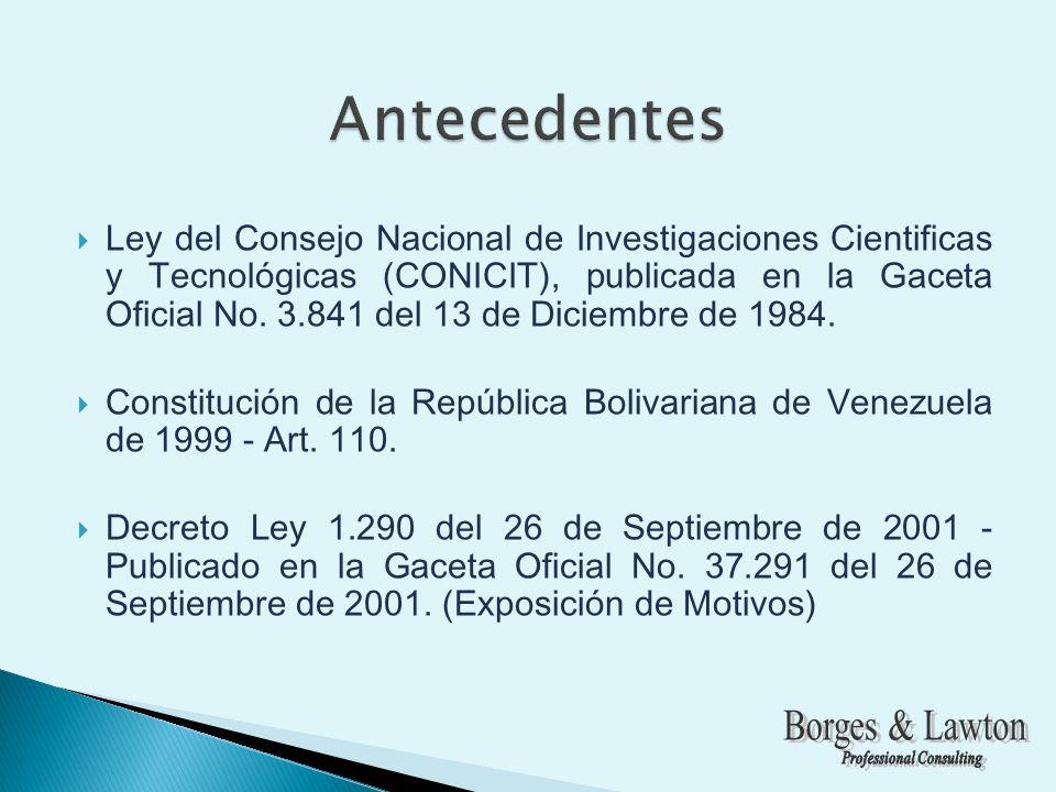 Ley del Consejo Nacional de Investigaciones Cientificas y Tecnológicas (CONICIT), publicada en la Gaceta Oficial No.