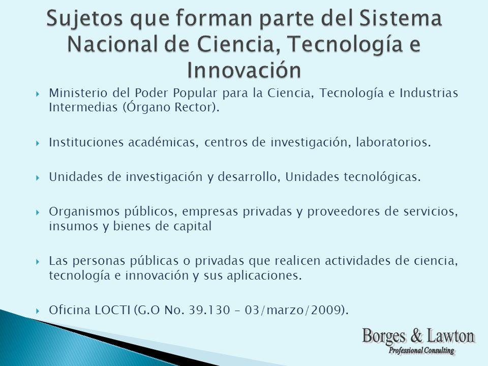 Ministerio del Poder Popular para la Ciencia, Tecnología e Industrias Intermedias (Órgano Rector).