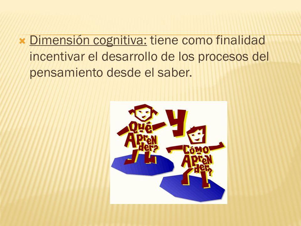 Dimensión cognitiva: tiene como finalidad incentivar el desarrollo de los procesos del pensamiento desde el saber.