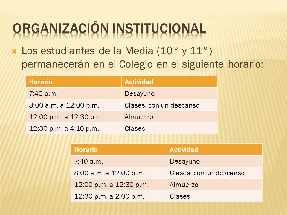 Los estudiantes de la Media (10° y 11°) permanecerán en el Colegio en el siguiente horario: HorarioActividad 7:40 a.m.Desayuno 8:00 a.m. a 12:00 p.m.C