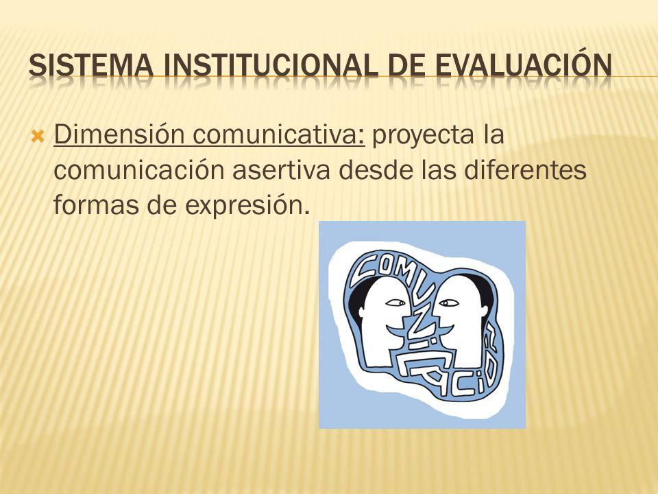 Dimensión comunicativa: proyecta la comunicación asertiva desde las diferentes formas de expresión.
